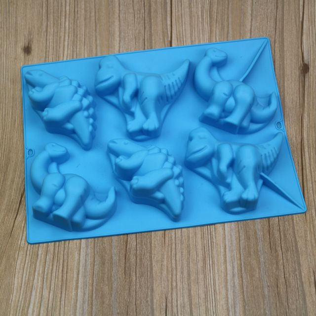 Molde de pastel de silicona 6 hoyos dinosaurio jalea del pudín del molde de silicona moldes de chocolate de silicona E741