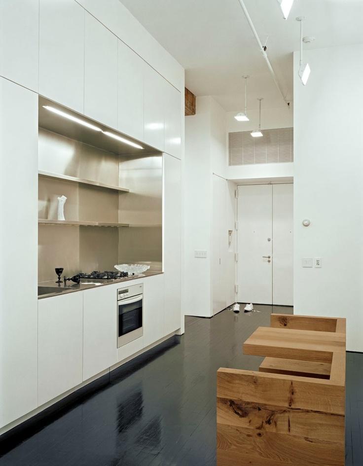 a minimalist stainless steel kitchen