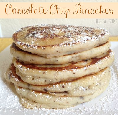 Chocolate Chip Pancakes. Just made these and they are delicious! The boys loved them!
