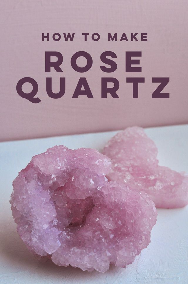Easy and affordable DIY Rose Quartz crystals you can make in about 6 hours with Borax, boiling water, pipe cleaners and food coloring.