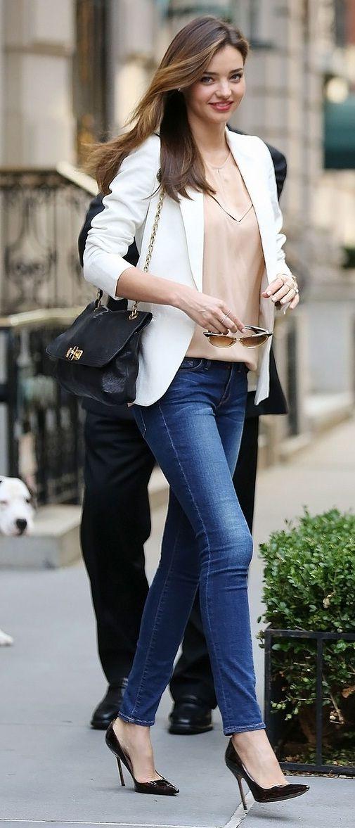 Miranda shoes black, blazer white and tshirt nude... LOVE casual chic
