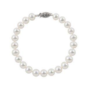 14K White Gold 7-7.5mm A Quality White Freshwater Pearl Strand Bracelet, 7 Inch Joy De Mer. $89.00