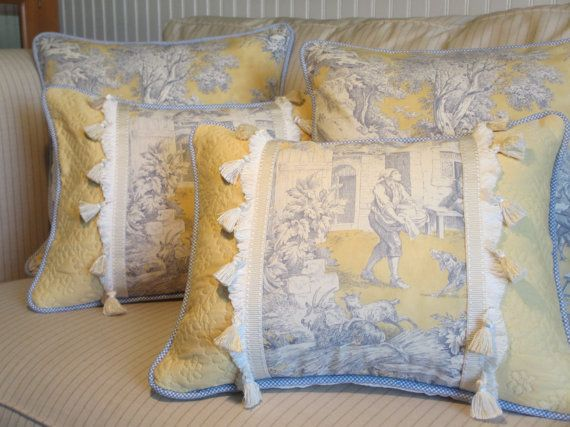 Blue Toile Decorating Ideas: Toile French Country Pillow Cover, Blue And Yellow