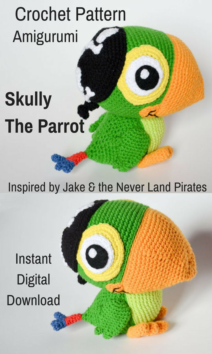 Lots of kiddies would love to have their own crocheted amigurumi Skully the Parrot to play with, especially while they are watching Jake & the Never Land Pirates. Once you print the pattern you can start gathering your supplies right away. #crochet #amigurumi #amigurumidoll #ad #crochetdoll #amigurumipattern #parrot #Jakeandtheneverlandpirates #instantdownload