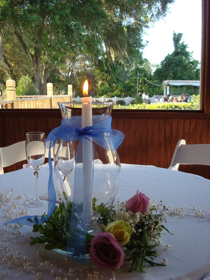 centerpieces for wedding receptions with candles%0A hurricane centerpiece  Wedding