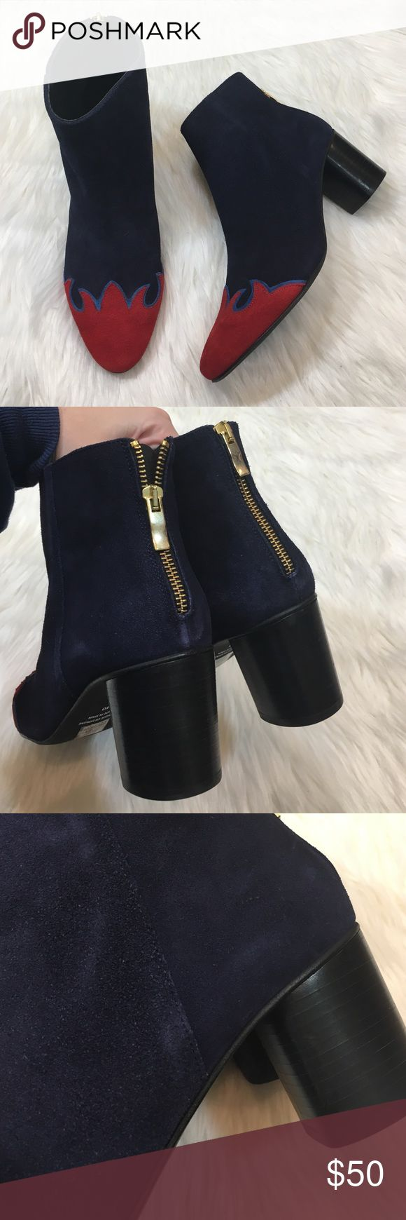 NEW Free People navy blue suede Adele booties Brand new never worn. Size 40. Some spots with lightened Suede as pictured from storage but not noticeable! In my opinion they fit like a 9 but please check free people's sizing chart to see if this size is best for you! Free People Shoes Ankle Boots & Booties