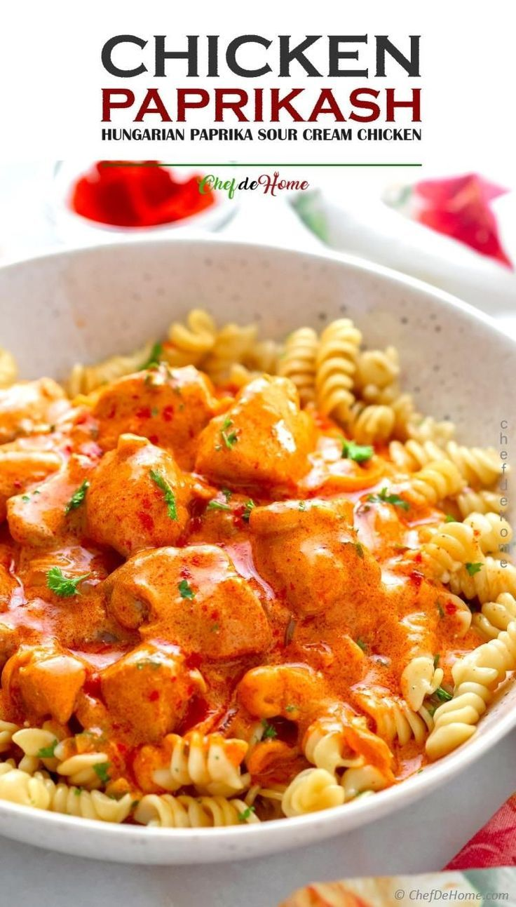 Chicken Paprikash A Hungarian Chicken Dish With Chicken Cooked In Creamy Onion Sour Cream And Papr Chicken Paprikash Chicken Pasta Recipes Sour Cream Chicken
