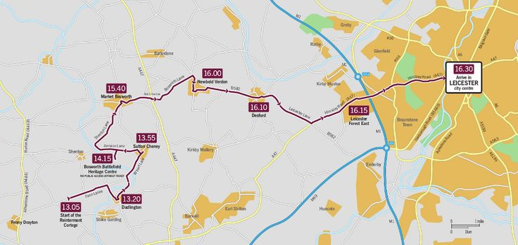 This map shows the route King Richard III's reburial procession will take through Leicester on Sunday (March 22).