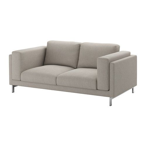 IKEA NOCKEBY Two-seat sofa Tenö light grey/chrome-plated You get extra soft comfort and support because the thick seat cushions have a core of pocket...