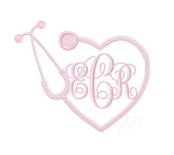 So doing this!!!!! Nurse Stethoscope Embroidery Design Heart Monogram BX Instant download 4x4 5x7 6x10 PES