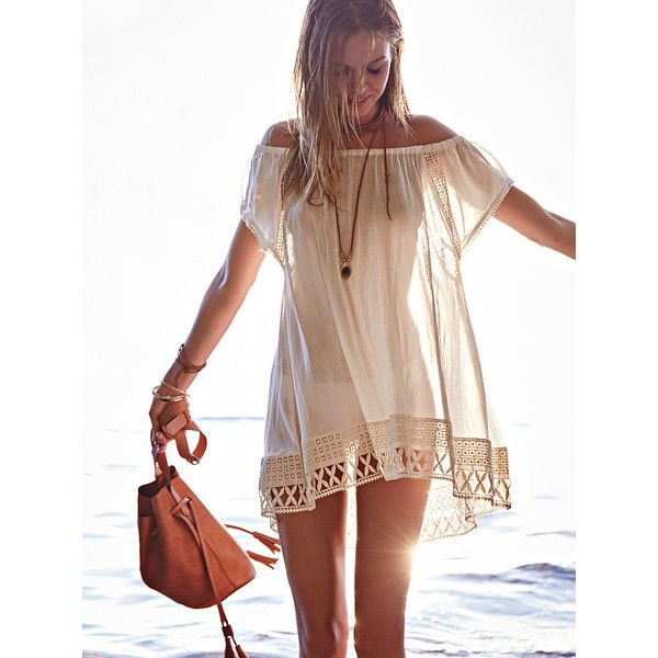 Victoria's Secret Off-the-shoulder Cover-up Tunic (71 CAD) ❤ liked on Polyvore featuring tops, tunics, ivory, victoria's secret, victoria secret tops, raglan top, crochet tunic and off shoulder tops