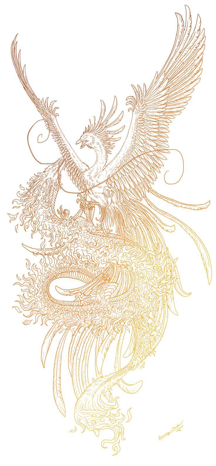 Phoenix and dragon lineart by Sunima.deviantart.com on @deviantART