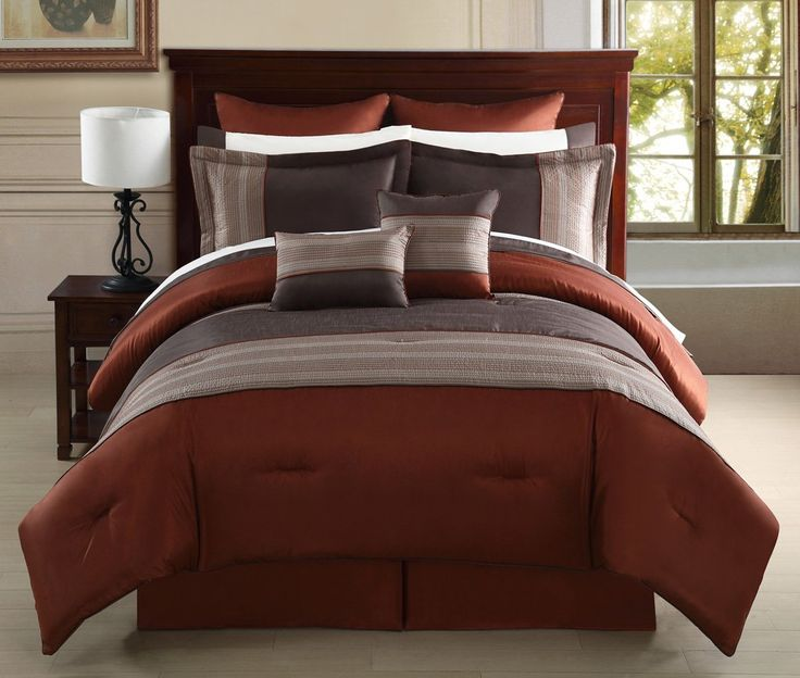 12 Piece Cal King Madden Rust And Taupe Bed In A Bag Set Design