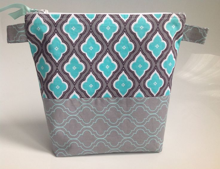 Turquoise and Grey Geometric Fabric Cosmetic Bag Handmade in Scotland by sewmoira on Etsy