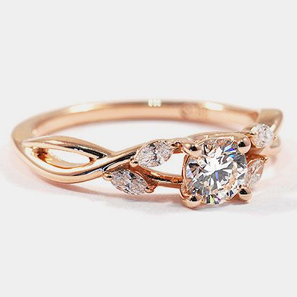 14 Karat Roségold Willow Diamond Ring / / Set mit einem 0,42 Karat, Runde, sehr gut …