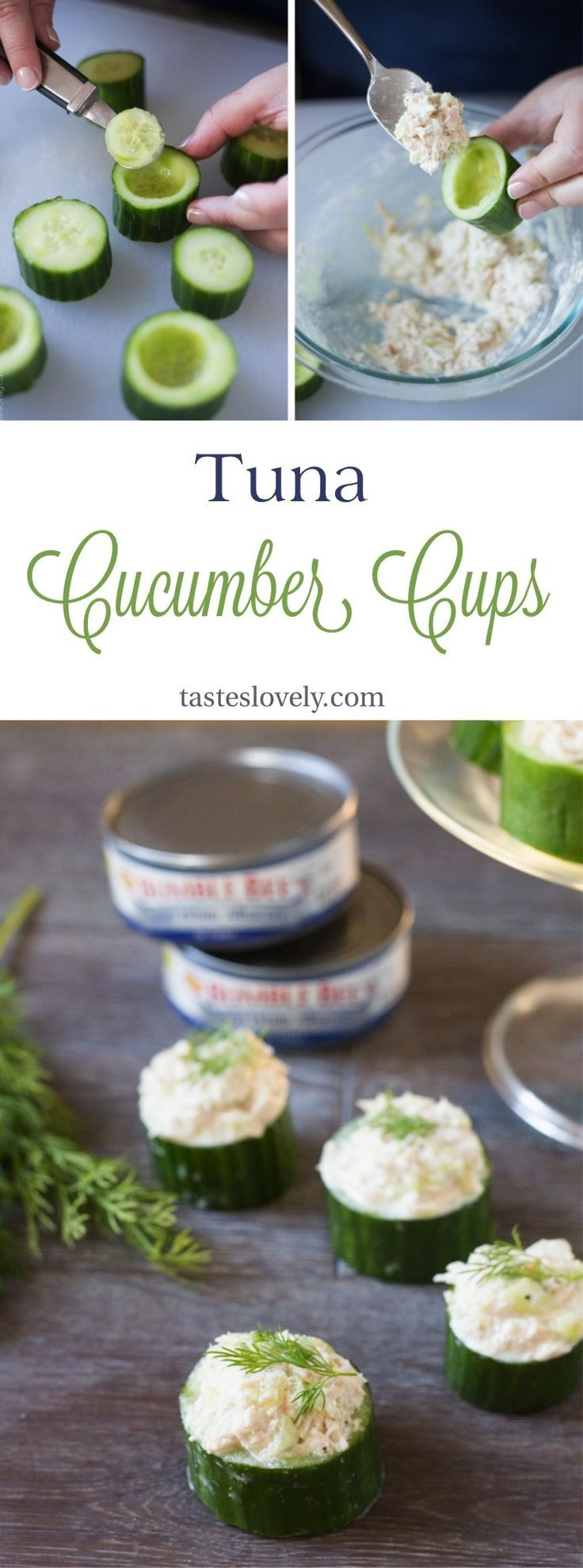 Healthy and delicious Tuna In Cucumber Cups. A cute lunch, snack or appetizer! (paleo, whole30, low carb, gluten free)