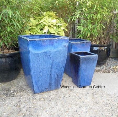 Large Blue Glazed Tall Taper Pot Planter | Woodside Garden Centre | Pots To  Inspire