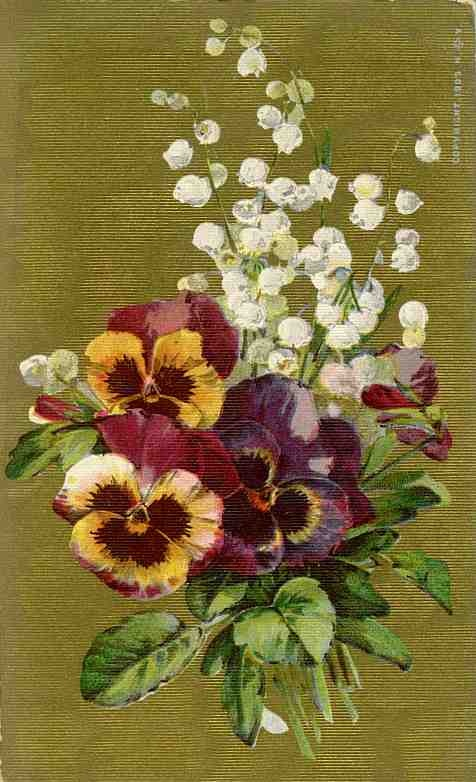 pansies on gold with lilies of the valley