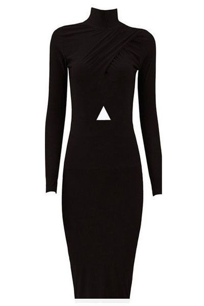 Black High Neck Cutout Waist Midi Dress