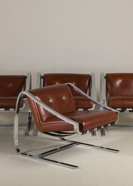 Charles Taylor; Chromed Steel and Leather Easy Chair for Glenn of California, 1980s.