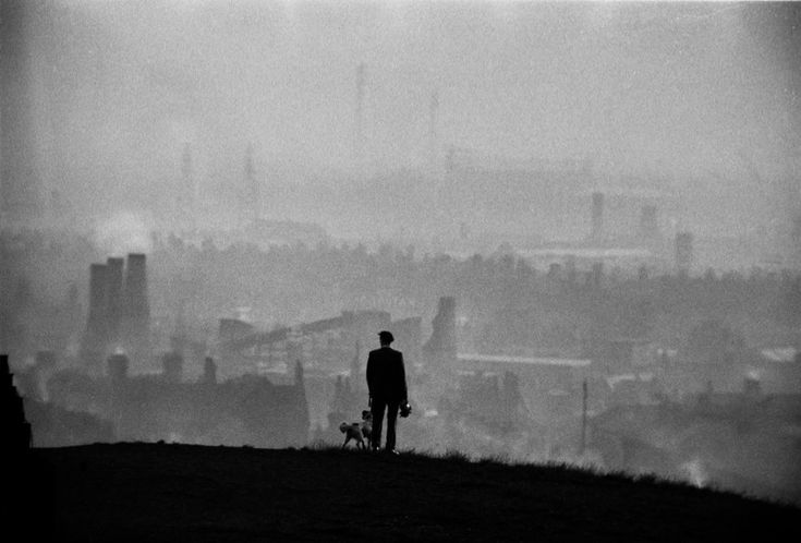 John Bulmer,View Over The Potteries, Stoke On Trent, 1963. What a wonderfully accurate view that someone walking a dog in 60s Stoke-on-Trent would have seen.