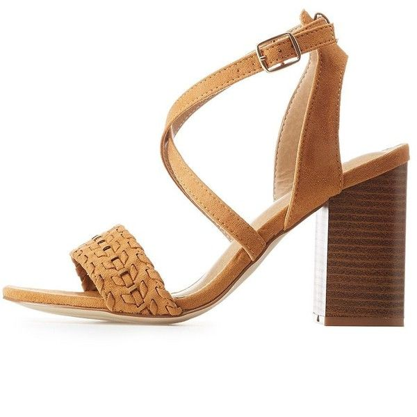 Charlotte Russe Whipstitched Faux Suede Strappy Sandals ($25) ❤ liked on Polyvore featuring shoes, sandals, camel, heeled sandals, synthetic shoes, camel shoes, strappy heeled sandals and cushioned sandals