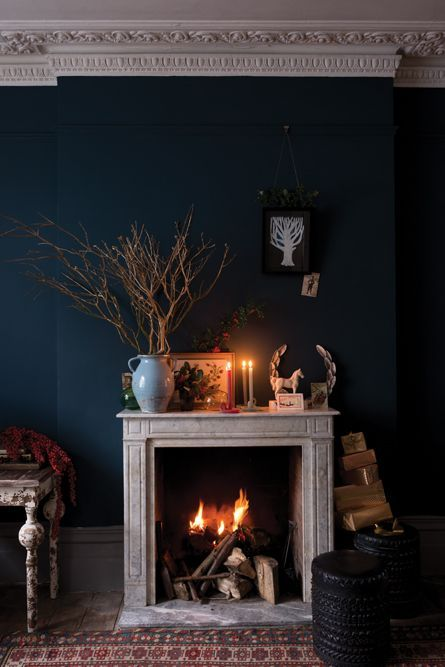 Hague Blue fireplace area - so warm and autumnal