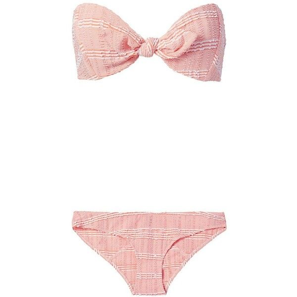 Lisa Marie Fernandez Poppy Seersucker Bandeau Bikini ($385) ❤ liked on Polyvore featuring swimwear, bikinis, orange, bandeau top bikini, bandeau bikini top, bikini swimwear, bandeau bikini and bikini two piece