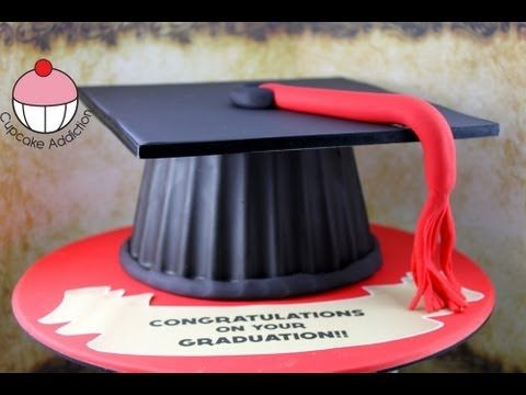 Make a Graduation Hat Cake Using your Giant Cupcake Mould! - Learn how to make these using our FREE online video tutorials. Visit YouTube channel MyCupcakeAddiction for these and lots more cupcake and cakepop decorating tutorials!