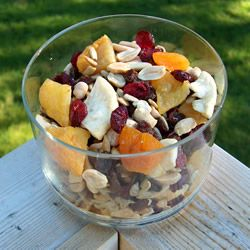 This is certainly a Terrific Trail Mix recipe from @Allrecipes.com. Substitute different fruits, seed and nuts for a combination you'll love! #snack