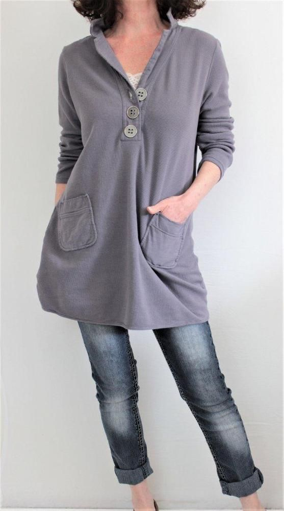 Soft Surroundings Cotton Half Button Sweatshirt Style Tunic Dk Mauve Sz L #SoftSurroundings #Tunic
