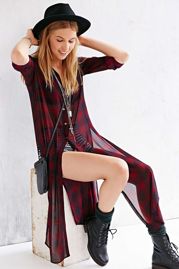 BDG Extreme Length Maxi Button-Down Shirt - Urban Outfitters