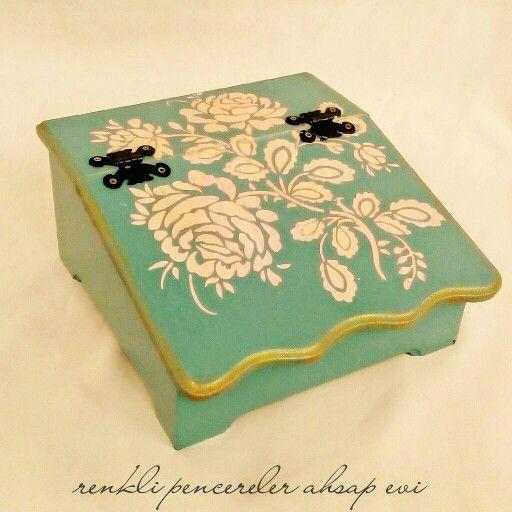 Ahşap boyama, Wood painting,gül,rose,wood box.