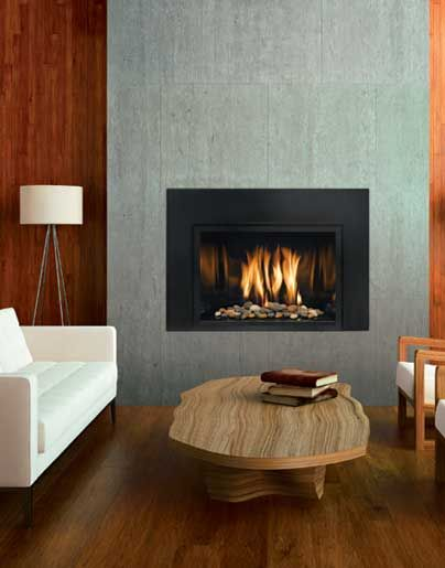 Mendota Modern direct vent gas fireplace insert; can be placed at floor  height or raised as shown; variety of interior decorative pebble options - 25+ Best Ideas About Gas Fireplace Inserts On Pinterest Gas