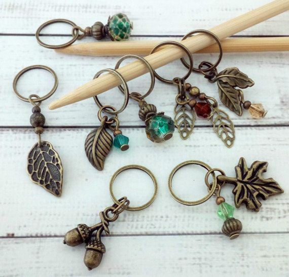 Forest Leaves stitch markers knitting or crochet by KoPoUK