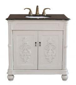 Bellaterra Home Grande Antique White Bathroom Vanity (Single Sink Vanity Wood Antique  White), Size Single Vanities