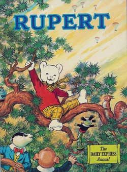 Rupert, rupert the bear, a treat for me to read at  my aunts house, along with the Broons and Andy Capp
