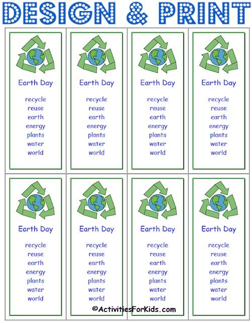 Printable Earth Day Bookmarks | Bookmark printing ...