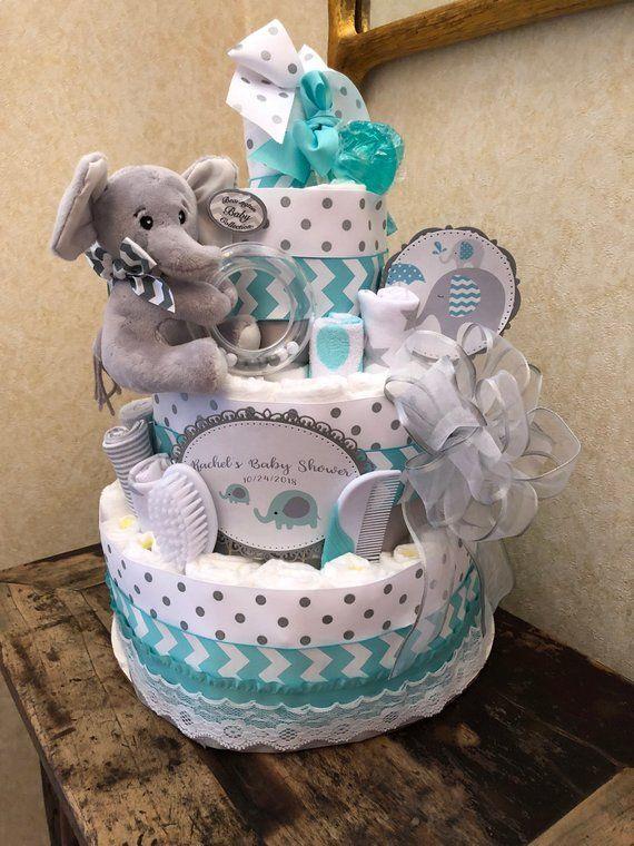 4 Tier Teal Elephant Diaper Cake Baby Boy Diaper Cake Baby Girl