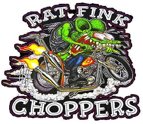 """Rat Fink Chopper Decal 6"""" x 5"""" in size. Made of High Quality Material Designed to take a beating outdoors for years. Our vinyl decals will stick to most anything. 3 year outdoor warranty. Designed and produced in the U.S.A."""