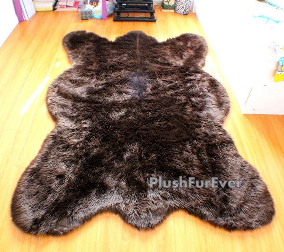 Clearance Big brown bear faux fur rug chocolate bearskin