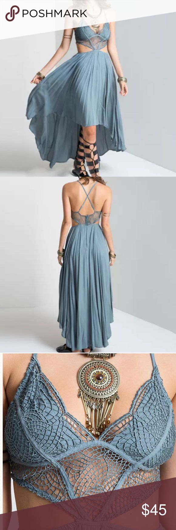 Cut out sides boho maxi dress This dress is simply amazing. It has the cotton laced top, open sides, v neck. High low maxi dress. Has open back with criss crossed straps, and a hidden zipper. The waist has a elastic band. Super boho inspired. Made from rayon and cotton. The top is very supportive. I suggest going a size up for a small if your cup is over a b, medium if your cup is over c, and large if your cup size is over a c. danglina Dresses High Low