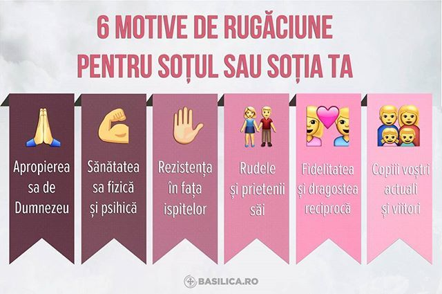 *RO: Rugăciunea reciprocă în familie este foarte importantă. Tu pentru ce te rogi? *EN: 6 reasons why to pray for your spouse: - to draw nearer to God; - for physical and mental health; - to resist temptations; - for his or her relatives and friends; - for your faithfulness and mutual love; - for your present and future children. . . . #orthodox #infographic #basilica #casatorie #wedding #family #familie #christianfamily #prayer #spouse #husband #wife #children #church #tip