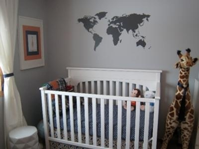 Masculine educational world map geography baby boy nursery for Cool boy nursery ideas