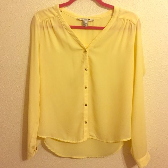 Forever 21 yellow Long Sleeve Top Lightly worn, size small Forever 21 Tops Tees - Long Sleeve