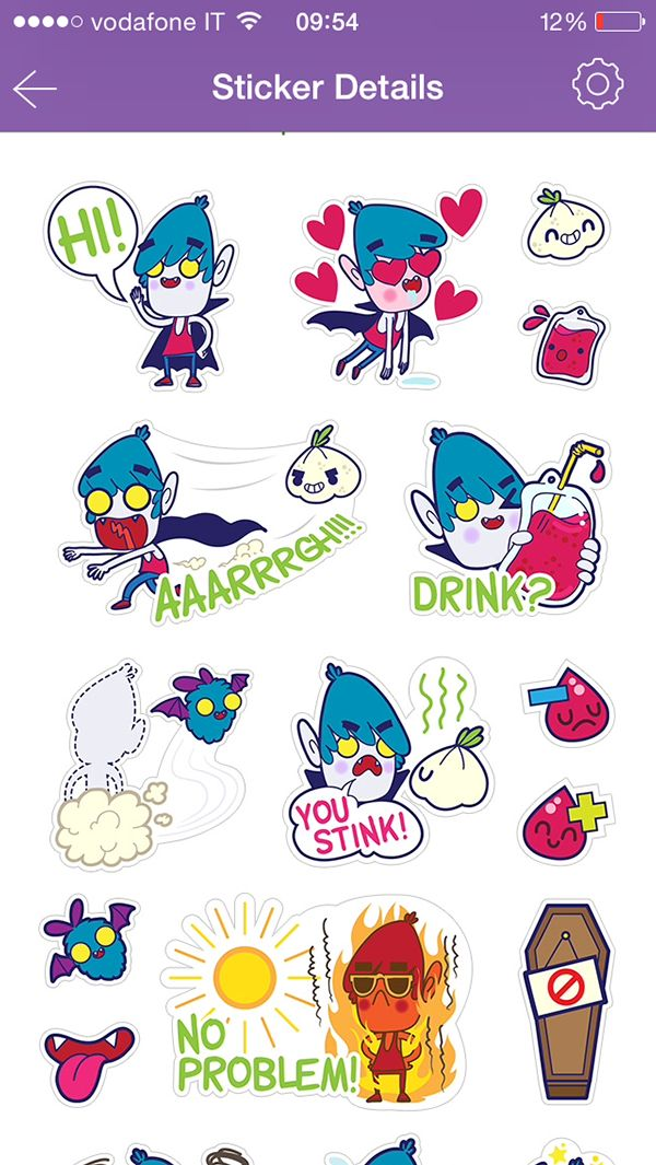 Vampire boy - Viber stickers set by Rubens Cantuni, via Behance