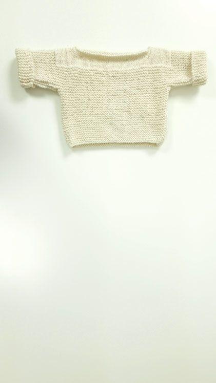 Pull brassière Bébé tricoté main en Laine Chameau - www.knitwithnath.com