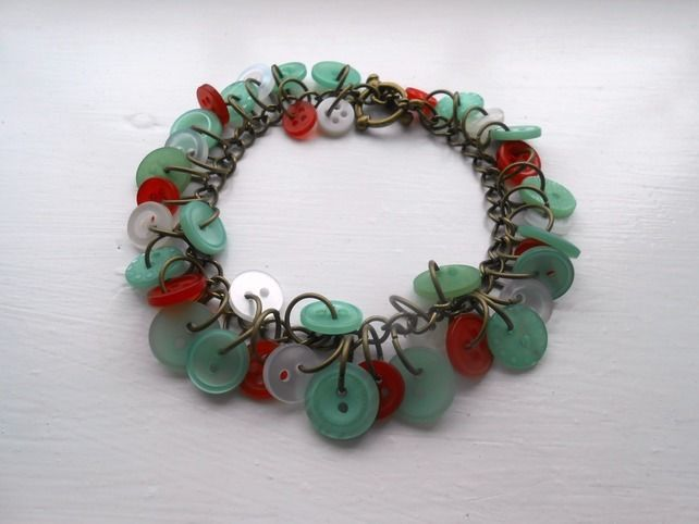 duck egg and red button bracelet £12.00