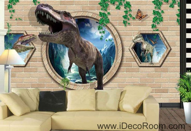 3D Dinosaurs Vine Brick Wall Wallpaper Wall Art Print Mural Home Decor Gift