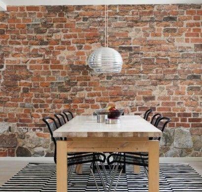 backstein-tapete-steinoptik-wand-ziegelstein-tapete-esszimmer-gestalten Mehr